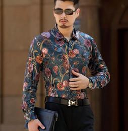$enCountryForm.capitalKeyWord Canada - Top Fashion Trendy Luxury Mens Silk Shirts Male Casual Velvet Formal Long Sleeve Dress Shirt Slim Fit Floral Shirt For Man