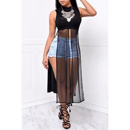 $enCountryForm.capitalKeyWord Canada - T Shirt Dress 2016 Summer Style Women Sleeveless High Split Chiffon Dress Sexy Black White Club Paty Tshirt Vestidos Femininos