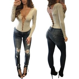 Barato Sexy Lady S Bodysuit-2017 Mulheres Macacos Rompers Sexy Deep V Bandage Clubwear Manga comprida Slim Thin playsuits Geral Ladies Bodycon Bodysuit tops