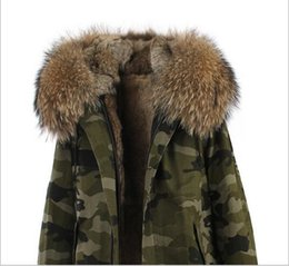 $enCountryForm.capitalKeyWord Australia - Luxurious brown fur trim Jazzevar brand rabbit fur lined Camouflage shell long jackets snow parka women coats with ykk zipper good quality