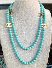 2016 hot comprar pérola jade pulseira anel brinco colar pingente NOVO Top Longa bonita 8mm azul turquesa colar de pérolas cor shell 50