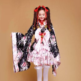 cosplay maids outfit 2019 - Wholesale-2018 New item Heavy Sakura Cosplay Anime Outfit Japanese Kimono Maid Lolita Costume Princess women Dress cheap