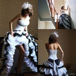 White Gothic Corset Wedding Dresses NZ - Black and White Wedding Dresses Ball Gown Gothic Strapless Taffeta Tiered Skirt Ruffles Corset Hi lo Wedding Bridal Gowns Custom Made 2018