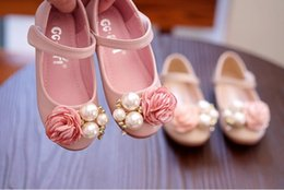 pearl flower girl shoes UK - Darling girl foreign trade original single child shoe big pearl flower princess shoe popular princess shoes size 24-34 age from 3-8 year old