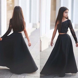 Discount images one pieces dresses for party - 2016 New Modest Girls Pageant Dresses Two Pieces One Shoulder Beads Black Sexy Flower Girl Dress For Child Teens Party C