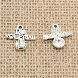 Volleyball Jewelry Wholesale Canada - Wholesale 80pcs Charms Tibetan Silver Antique Bronze plated i love volleyball 21*20mm Pendant for Jewelry DIY Hand Made Fitting