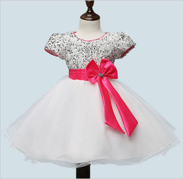 Sequin Shorts For Kids Canada - Wholesale 2018 noble summer white mesh short sleeve bow dress kids formal princess ball gown evening sequin dresses for girls