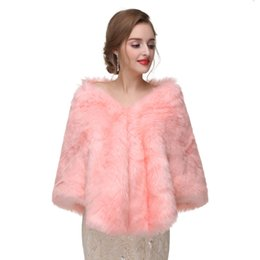$enCountryForm.capitalKeyWord UK - 2017 New Arrival Faux Fur Pink Winter Bridal Jacket Warm Boleros Luxurious Wedding Bride Wraps Cape Wedding Jacket