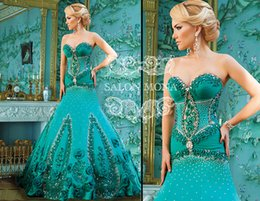 Robes De Soirée Sweetheart Strass Pas Cher-Salon Mona strass perles des robes du soir sweetheart Encolure longues robes de bal Appliqued Mermaid Plissé Pageant Dress