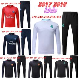 Barato Terno Do Menino Para Esportes-2017 2018 Kids Long Sleeve Real Madrid Tracksuit Jogging Boys Soccer kit Fatos de futebol Youth Sport Wear Children Ronaldo treino de treino