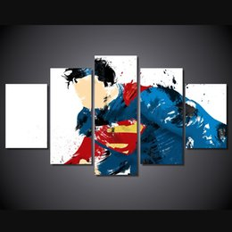 Art Canvas Prints Australia - 5 Pcs Set Framed Printed Superman Art Comics Painting Canvas Print room decor print poster picture canvas Free shipping ny-4150