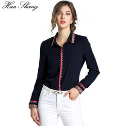 $enCountryForm.capitalKeyWord Canada - Hua Shang Autumn Women Turn Down Collar Long Sleeve Shirt Pure Color Embroidery Elegant Slim Lady OL Office Shirt Women Clothing
