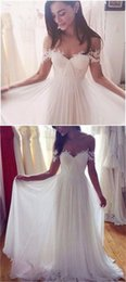 $enCountryForm.capitalKeyWord NZ - Exquiste Fashionable Wedding Dresses White Sexy Simple 2017 Applique Lace Garden Chiffon Off Shoulder Sleeveless Backless Sweep Train Misses