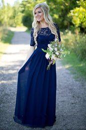 Navy boho bridesmaid dress online shopping - 2018 chiffon lace navy blue long bridesmaids dresses Cheap short sleeves sequin boho western country formal dresses maid of honor dresses