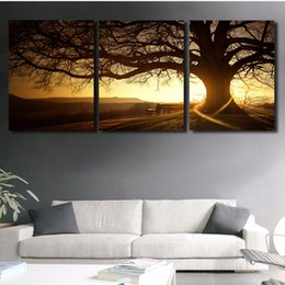 Life Tree Decors Canada - 3 Panel Modern Printed Tree Painting Picture Cuadros Sunset Canvas Painting Wall Art Home Decor For Living Room No Frame