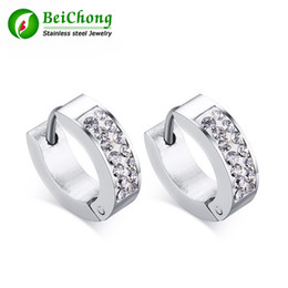 Discount wholesale crystal gold - BC Hot sell width 4 mm Fashion Good Silver Gold Clear Crystal Stainless steel Earrings for Girl