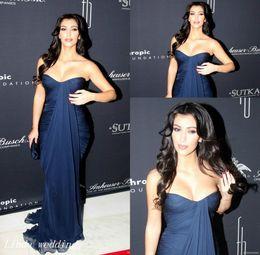 Kardashian Special Occasion Dresses Canada - Kim Kardashian Navy Blue Evening Dress High Quality Long Chiffon Formal Special Occasion Dress Party Gown Celebrity Dress