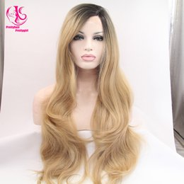 $enCountryForm.capitalKeyWord Canada - Hot! Top Quality Fiber Body Wave Wigs Synthetic Lace Front Wigs 180% Density Ombre Black Blonde Color Heat Resistant Ombre Wigs