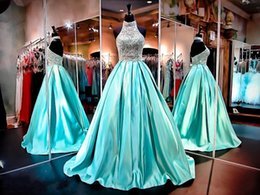 $enCountryForm.capitalKeyWord NZ - 2017 New Bling Prom Dresses High Neck Illusion Crystal Beading Satin Turquoise Mint Backless Sweep Train Formal Party Dress Evening Gowns