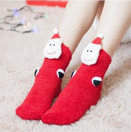 Funny Christmas Socks Canada - Christmas Decoration Women Children Thick Coral Baby Socks Christmas stockings Funny Socks Velvet Cute Home Warm Socks 001