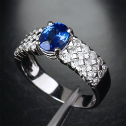 $enCountryForm.capitalKeyWord Canada - Sz 8 9 10 11 12 Exquisite Mens Jewelry 10KT White Gold Filled Oval Blue CZ Stone Ring