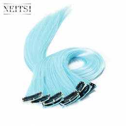 Discount light blue hair extensions 2017 light blue remy hair neitsi 18inch 10pcs lot light blue 80g synthetic clip in on hair straight clips hair piece synthetic clip in on hair highlight extensions pmusecretfo Images