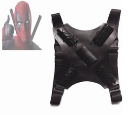 Chinese  Deadpool Costume Accessories Deadpool Belt Sword Back Strap Sheath Buckle Black Leather manufacturers