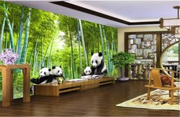 Wholesale wood panda resale online - 3d room wallpaer custom mural photo Panda Bamboo Landscape Background Wall painting d wall murals wallpaper for walls d