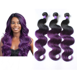 cheap ombre purple hair weave NZ - Body Wave Brazilian Ombre Human Hair Weave Omre Purple Peruvian Hair Weft Cheap Hair Bundles