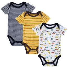 593a7befdbc 3pcs lot 15designs Stripped Cotton Short Sleeves Newborn Baby Boy Rompers  Clothing Summer Print Baby Clothing Wear Jumpsuits