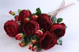 White Rose Arrangements Australia - Royal 3 Head Rose Bunch Silk Flowers Simulation European Rose Flower 6 Colors Wedding Party Home Floral Decor Flower Arrangement