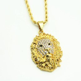 $enCountryForm.capitalKeyWord NZ - New Gold Color Alloy Chain Lion Head Pendant Inlay Crystal Rhinestone Necklace Hip Hop Lion Necklaces free shipping