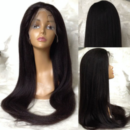 Ponytail Hairstyles For Babies NZ - long yaki straight Brazilian virgin human hair ponytail glueless full lace wig with baby hair lace front human hair wigs for black women