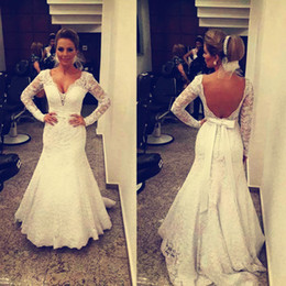 Modest 2017 Wedding Dresses Mermaid Lace Applique V Neck Long Sleeves Backless Sweep Train 2016 Best Selling Bridal Gowns