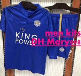 best quality 17 18 men leicester city soccer jersey kits 2017 2018 blue jersey + blue