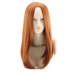 Orange Halloween Costumes Canada - WoodFestival cosplay wig The Avengers Natasha Romanoff Black Widow costume straight medium length orange wig halloween