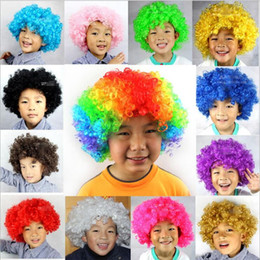 Discount football fans wigs New Party Clown Wigs Rainbow Afro Hairpiece Children Adult Costume Football Fan Wigs Halloween Christmas Colourful Explo