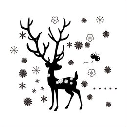 Happy Christmas Stickers Canada - Happy New Year Christmas Deer Snowflake Wall Stickers Living Room Bedroom Children's Room Backdrop Stickers Removable Waterproof Wholesale