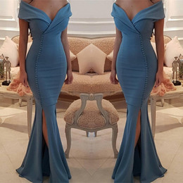 Barato Vestido De Baile Plissado-Elegant Off The Shoulder Mermaid Prom Dresses Side Split Sexy Satin Floor Length Mermaid Evening Gates Plissado vestido de cocktail barato