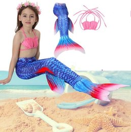 Barato Terno Dos Miúdos Dos Biquinis-Kids Girls Fin Mermaid Tail Biniki 3PCS / Set Kids Mermaid Cosplay Bikini Bathing Suit Swimwear Swimwear Swimsuit KKA1964