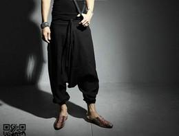 923ac0d5f311 NEW Men Women Japanese Samurai Style Boho Casual Low Drop Crotch Loose Fit  Harem Baggy Hakama Capri Cropped Linen Pants Trousers