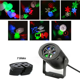 Discount christmas wall projections Rotating RGB Projection Laser Lighting with 7PCS Switchable Pattern Lens Projector Light Wall Lamp Holiday Wedding Party
