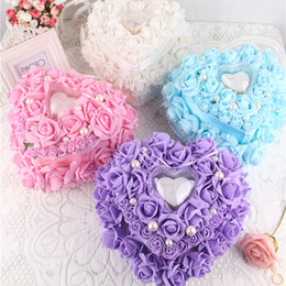 Discount organza rose flowers - Colorful White Crystals Pearl Bridal Ring Pillow Organza Satin Lace Bearer Flower Rose Pillows Bridal Supplies Beaded We