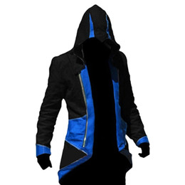ingrosso anime assassin creed-Fall Assassins Creed III Conner Kenway Uomo Con Cappuccio Giacca Anime Cosplay Assassino Costume Cosplay Cappotto Mens Felpa Soprabito