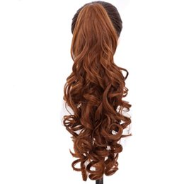 $enCountryForm.capitalKeyWord UK - Long Curly Ponytail Natural Brown Claw Hair Tail Hairpiece Heat Resistant Synthetic Hair For Black Women Hairstyles