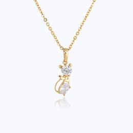 "$enCountryForm.capitalKeyWord Canada - High Quality Cubic Zirconia CZ 18K Yellow White Gold Plated Fashion Animal Jewelry Kitty Cat 18"" Chain Necklace"