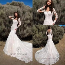 long sleeve modest backless wedding dresses 2020 - 2020 Modest Mermaid Wedding Dresses Sheer Long Sleeves Illusion Back Bridal Gowns Full Lace Vintage Wedding Bridal Gowns