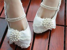 bridal low heel wedding shoes 2019 - 2015 new women faux pearl bow low heel high-heeled bridal shoes - wedding shoes-European size 34-40 cheap bridal low hee