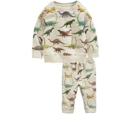 $enCountryForm.capitalKeyWord UK - Wholesale Hot Selling Toddler Boys Spring Autumn Clothing Sets Allover printed Dinosaur Tshirt+Trousers 2 pieces Sets Sport Casual Top+pants
