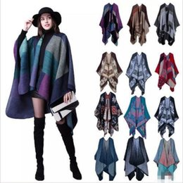 Señoras Tejidas Baratos-Bufanda de las mujeres Wrap Shawl Manta Cloak 130 * 155CM Patchwork Plaid Cashmere Poncho Cape Lady Knit Chal Cape 18 colores b1520